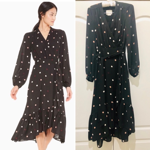 Kate Spade polka dot blk midi dress 0